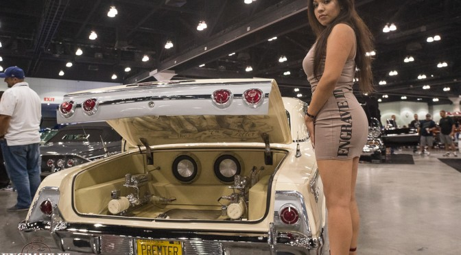 the7thletter 62 Impala at Torres empire show in LA Engraving by Engraveit Model Myrna