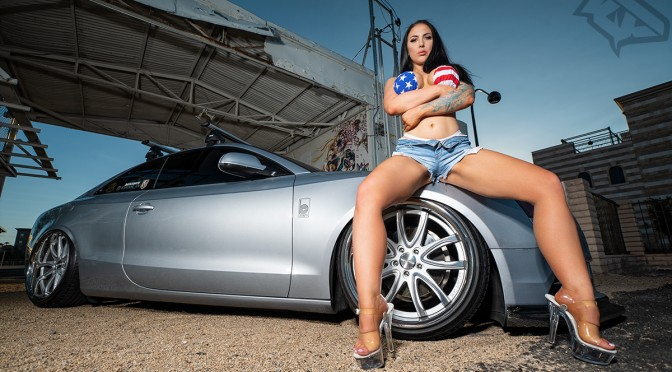 Kassie with Custom Bagged Audi A5 on Conceptone wheels CR1 in Las Vegas