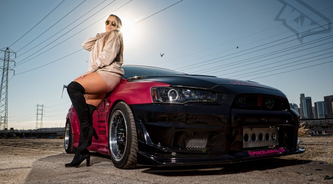 Photoshoot with Thatboostedchick and Nikk's Widebody Lancer in Los Angeles