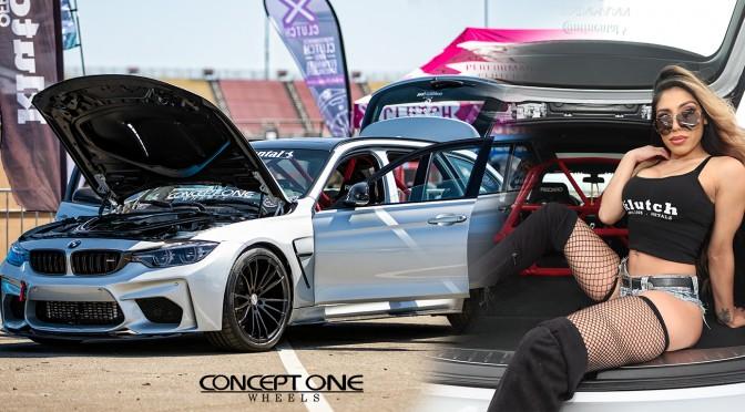 Nadya with Zeke's BMW wagon at Bimmerfest 2019 with Conceptonewheels